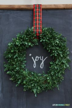 Easy DIY Christmas Chalkboard with Wreath
