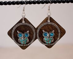 Cute Wood Earrings with owl charms by TinselMouse on Etsy