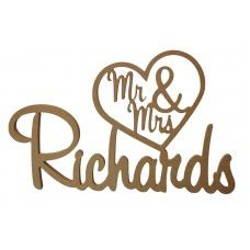 MDF Wedding - Mr & Mrs In Heart with Surname