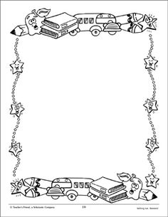 Plain Books: Design Paper Page Page Borders Design, Border Design, Borders For Paper, Borders And Frames, Bible Coloring Pages, Coloring Books, School Tool, School Stuff, School Border