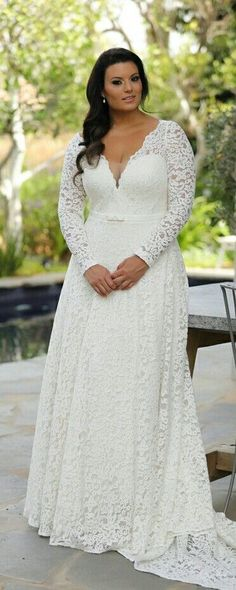 Plus size lace wedding dress with long sleeves and slimming interior corset. Size Brautkleider mit Ärmeln Plus size lace wedding dress with long sleeves and slimming interior corset. Lace Wedding Dress With Sleeves, Top Wedding Dresses, Bridal Dresses, Lace Sleeves, Dress Lace, Lace Corset, Dress Sleeves, Wedding Dress Shopping, Plus Size Wedding Gowns