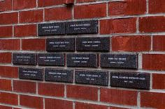 Close-up View of Granite Plaques in Laguna Beach Brick Wall Donor Wall, Ravenna, Laguna Beach, Brick Wall, Wall Design, Granite, Fundraising, Playground, Close Up