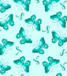 Anti Pill Fleece Fabric-Teal Ribbon N ButterflyJoAnnes