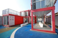 Flexible And Modern Community Center In Shanghai Made Of Shipping Containers