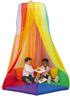 Rainbow Retreat Canopy from Constructive Playthings. I need just the canopy for my STAR/Safe Place, but I wouldn't say no to the entire set of rainbow cushions next year. Love how happy, safe, and bright it is!