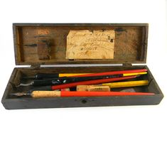 Antique Artist's Tool Box In Wood With Calligraphy Pens And Extra Nibs Inside…