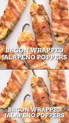 Appetizer Recipes Discover Bacon Wrapped Jalapeno Poppers These spicy bacon wrapped jalapeno poppers are filled with melty cheese and loads of spices. Theyre the perfect party appetizer recipe. Watch them disappear! Bacon Wrapped Jalapeno Poppers, Stuffed Jalapenos With Bacon, Stuffed Peppers, Jalapeno Bacon, Bacon Wrapped Shrimp Grilled, Bacon Wrapped Scallops, Spicy Appetizers, Appetizers For Party, Bbq Food Ideas Party