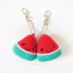 Red watermelon amigurumi keychains