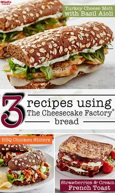3 EASY recipes using The Cheesecake Factory® bread! Mouthwatering recipes for every meal of the day - breakfast, lunch and dinner. No one will be disappointed! Easy Recipes, Easy Meals, Healthy Recipes, Cheesecake Factory Bread, Melted Cheese, Lunch Time, Disappointed, Recipe Of The Day, Lunches And Dinners