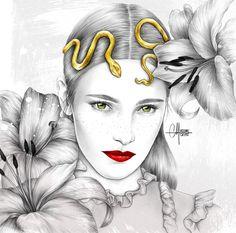 Fleur de Lys Photo Collage Maker, Sunday Inspiration, Pretty Drawings, Love Illustration, Pencil Portrait, French Artists, Art Plastique, Pencil Drawings, Illustrators
