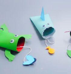 DIY cardboard kids toys Summer Crafts For Toddlers, Easy Crafts For Kids, Toddler Crafts, Projects For Kids, Diy For Kids, Sea Crafts, Cute Crafts, Toilet Paper Roll Crafts, Paper Crafts