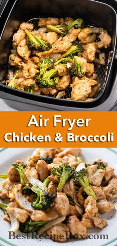 Healthy air fried chicken and broccoli asian stir fry. This Healthy air fryer chicken and broccoli recipe is an easy asian stir fry that's quick and easy Low Carb Chicken Recipes, Healthy Low Carb Recipes, Low Carb Dinner Recipes, Keto Chicken, Healthy Broccoli Recipes, Air Fryer Chicken Recipes, Healthy Chicken Stir Fry, Keto Recipes, Grill Recipes