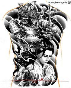 World clock tattoo design Geisha Tattoo Design, Design Tattoo, Tattoo Sleeve Designs, Tattoo Designs Men, Japanese Back Tattoo, Japanese Tattoo Designs, Japanese Sleeve Tattoos, Japanese Geisha Tattoo, Samurai Warrior Tattoo