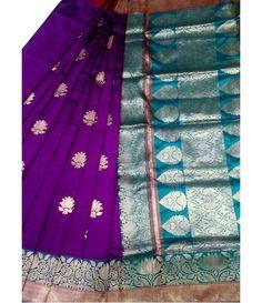 Purple Banarasi Handloom Katan Silk Saree