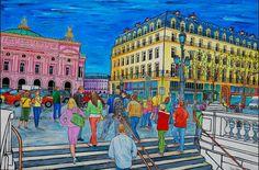 """""""Place de l'Opéra"""" Peinture acrylique de l'artiste contemporain Dominique Jurie"""