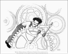 "AL HIRSCHFELD'S Charlie Chaplin in ""Modern Times,"" Hand Signed by Al Hirschfeld…"