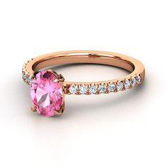 Oval Pink Sapphire 14K Rose Gold Ring with Diamond & Diamond