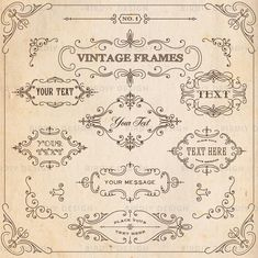 This is a collection of free vintage design elements to use in your designs. These vintage design elements are vector shapes that are infinitely scalable. Vintage Invitations, Vintage Labels, Rustic Frames, Vintage Frames, Molduras Vintage, Clip Art, Frame Clipart, Arrow Clipart, Scroll Design
