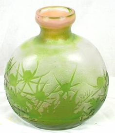 Galle French Cameo Art Glass Vase Thistle
