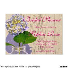 Country classsic - Blue Hydrangea and Mason jar  - customize Bridal shower card