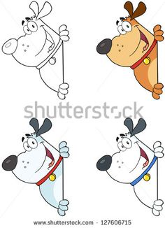 Fat Dog Looking Around A Blank Sign- Collection. Raster Illustration.Vector Version Also Available In Portfolio.