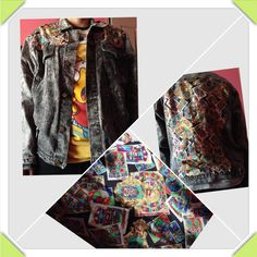 stitch material on jacket