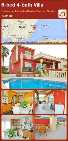 Villa for Sale in La Nucia, Alicante (Costa Blanca), Spain with 6 bedrooms, 4 bathrooms - A Spanish Life Alicante, Murcia, Low Maintenance Garden, Bedroom Windows, Living Room With Fireplace, Rustic Kitchen, Rustic Style, Ground Floor, Terrace