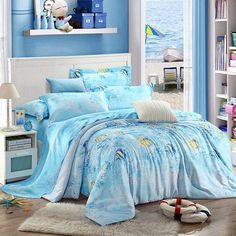 Bring sophisticated urban chic to your bedroom with the luxury hotel style ocean wonders bedding sets. The ocean wonders bedding sets feature a traditional natural scene that brings a rustic touch to your bedroom or guest room. Girls Bedroom Sets, Small Room Bedroom, Blue Bedroom, Trendy Bedroom, Bedroom Colors, Small Rooms, Bedroom Wall, Kids Bedroom, Bedroom Decor
