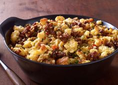Chorizo and Cornbread Stuffing ~ Chorizo or chouriço is a term originating from the Iberian Peninsula encompassing several types of pork sausages. Chorizo can be a fresh sausage, in which case it must be cooked before eating.