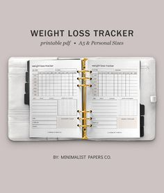 Weightloss and Fitness Tracker, Health and Fitness Planner, Weightloss Journal and Habit Tracker, Goal Planner - A5 & Personal Size For Individual Who Loves Minimalistic And Clean Design, Instant Download! #weightlosstracker #weighlossprogress #fitnessplanner #caloriesplanner #caloriestracker #goalplanner Planner Dividers, Goals Planner, Fitness Planner, Weight Loss Journal, Printable Planner, Printables, Weigh Loss, Papers Co, Clean Design