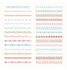 Hand drawn line border set and scribble design vector by Krolja on VectorStock®