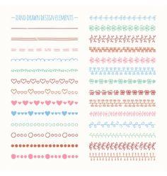 Hand drawn line border set and scribble design vector by Krolja on VectorStock®