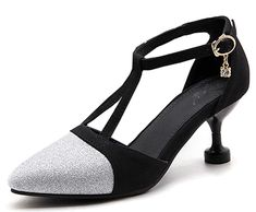8ab1bfe660c IDIFU Women s Sexy Sequined Mid Kitten Heels Ankle Strap Pumps Shoes  Wedding Pumps