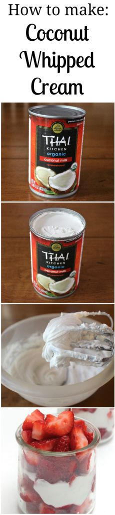 Find out how to make Coconut Whipped Cream out of coconut milk! A healthy alternative to heavy cream. (Plus, it's Paleo-friendly, gluten-free, and lactose-free!)