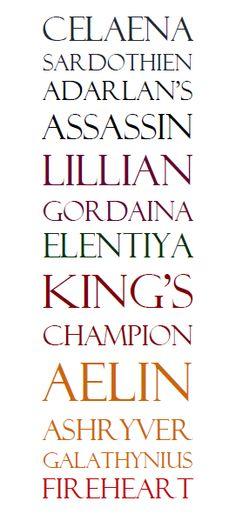 Celaena Sardothien Adarlan's Assasin Lillian Gordaina Elentiya King's Champion Aelin Ashryver Galathynius Fireheart