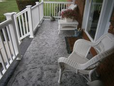 Stamped and stained concrete porch in Westerville, Ohio.