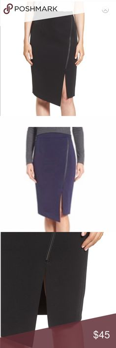 """NWOT Halogen Asymmetrical Zip Pencil Skirt NEVER WORN. Asymmetrical, faux-wrap styling accentuated with a decorative zipper and a slit over one knee updates a pencil skirt tailored from a polished stretch fabric. Navy version.  27"""" regular length (size 8); 24"""" petite length (size 8P). Hidden back-zip closure. Unlined. 95% polyester, 5% spandex. Machine wash cold, line dry. Halogen Skirts Pencil"""
