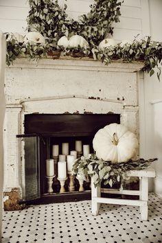 A Very Neutral Fall Mantel Simple & neutral white pumpkin fall mantel. White Pumpkins, Fall Pumpkins, Fall Home Decor, Autumn Home, Autumn Fall, Rustic Decor, Farmhouse Decor, French Farmhouse, Rustic Design