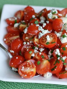 A simple summer salad full of fresh garden cherry tomatoes and savory blue cheese. This Cherry Tomato and Blue cheese salad is excellent for summertime picnics and barbecues!