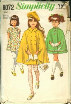 Girls Cape and Dress Vintage Pattern by ErikawithaK on Etsy Girls Cape, S Girls, Vintage Dresses, Vintage Outfits, Vintage Fashion, Vintage Clothing, Simplicity Sewing Patterns, Vintage Sewing Patterns, Cape Pattern