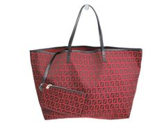 #FENDI Tote Bag Zuccino Canvas/Leather Red/Black 8BH0005 (BF078334). Authenticity guaranteed, free shipping worldwide & 14 days return policy. Shop more #preloved brand items at #eLADY: http://global.elady.com