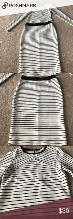 Striped black/white crop top and skirt size small brand new never been work black and white striped crop top with skirt Dresses Mini