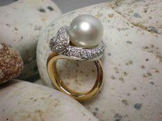 Anello in oro rosa con perla australiana - Rose gold ring with pearl Australian