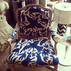 Custom upholstered chair with handmade Otomi Indian fabric! Absolutely beautiful. Available at Patina Home Interiors: http://www.facebook.com/PatinaHomeInteriors