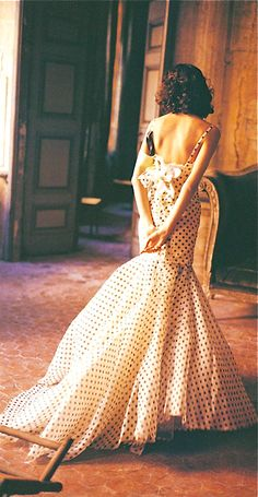 Pretty. Oh, how sweet and unexpected are polka-dots on a formal gown?