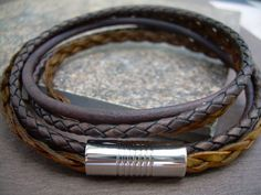Mens Leather Bracelet, Antique Brown and Natural Braid, Double Wrap,Stainless Steel Magnetic Clasp, Mens Bracelet, Mens Jewelry via Etsy
