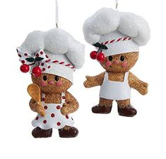 Kurt Adler 2 Assorted Little Gingerbread Chef Girl & Boy Ornaments Gingerbread Ornaments, Gingerbread Decorations, Felt Christmas Decorations, Christmas Ornament Sets, Christmas Gingerbread, Felt Ornaments, Christmas Art, Christmas Themes, Gingerbread Cupcakes