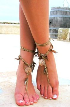 Barefoot Sandals made of string, leather, sea shells & love of nature.