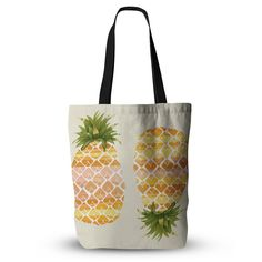 """Judith Loske """"Happy Pineapples """" Yellow Gold Everything Tote Bag"""