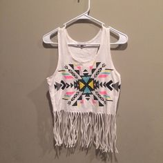 Charlotte Russe fringe crop top Aztec print Worn once , really cute Aztec print with fringe ! Charlotte Russe Tops Crop Tops